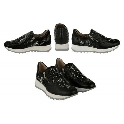 Sneakers de piel con brillantes y cierre de cremallera Zerimar - 2