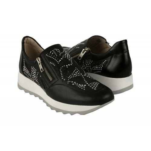 Sneakers de piel con brillantes y cierre de cremallera Zerimar - 1