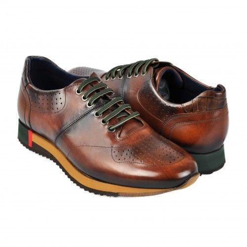 Zapatos deportivos de piel marron con cordones verdes Zerimar - 1