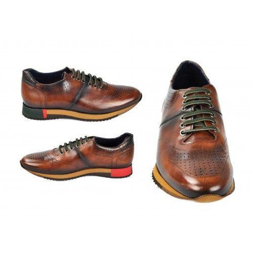 Zapatos deportivos de piel marron con cordones verdes Zerimar - 2