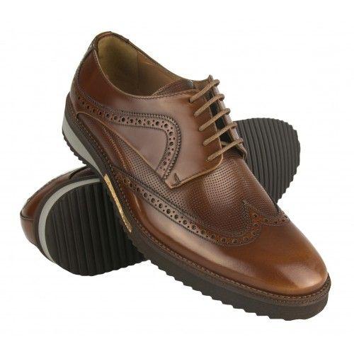 Zapatos oxford de piel marrón con detalle dorado Zerimar - 1