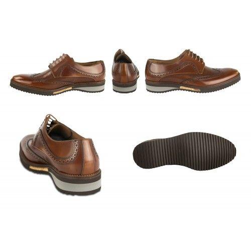 Zapatos oxford de piel marrón con detalle dorado Zerimar - 2