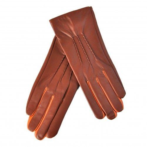 Guantes marrones de piel con detalle naranja Zerimar - 1