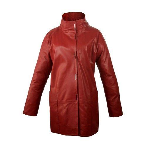 Abrigo largo de piel con bolsillos, cuello clásico y cierre de botones Zerimar - 2