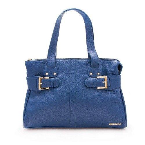 Bolso de piel para mujer color Azul Marino 39x26.5x11.5 cm Zerimar - 3