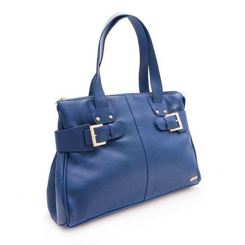 Bolso de piel para mujer color Azul Marino 39x26.5x11.5 cm Zerimar - 4