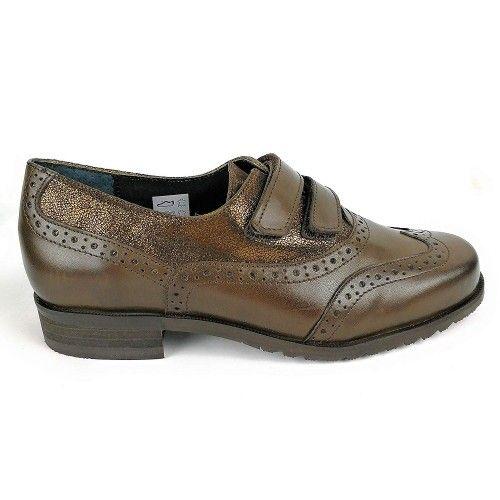 Zapato de piel comodode mujer en color marron Zerimar - 2