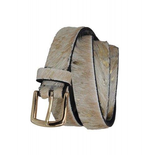 Cinturon de piel de vaca estampado beige y oro Zerimar - 1