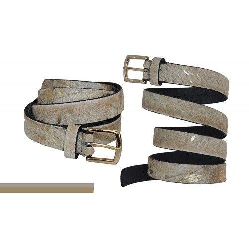 Cinturon de piel de vaca estampado beige y oro Zerimar - 2