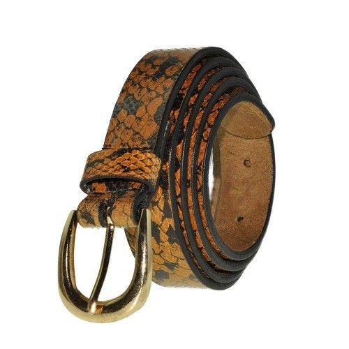 Cinturon de piel de vaca estampado en color tan y marron Zerimar - 1