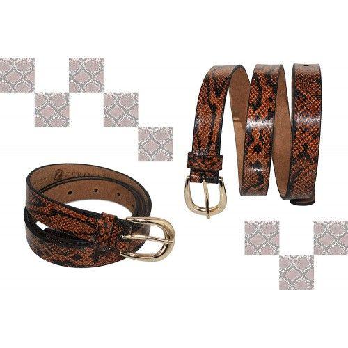 Cinturon de piel de vaca estampado en color tan y marron Zerimar - 2