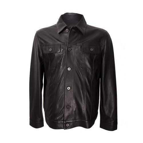 Cazadora cuero para hombre con cierre frontal de botones color negro Zerimar - 1