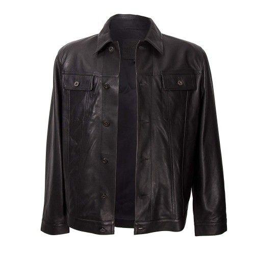 Cazadora cuero para hombre con cierre frontal de botones color negro Zerimar - 2
