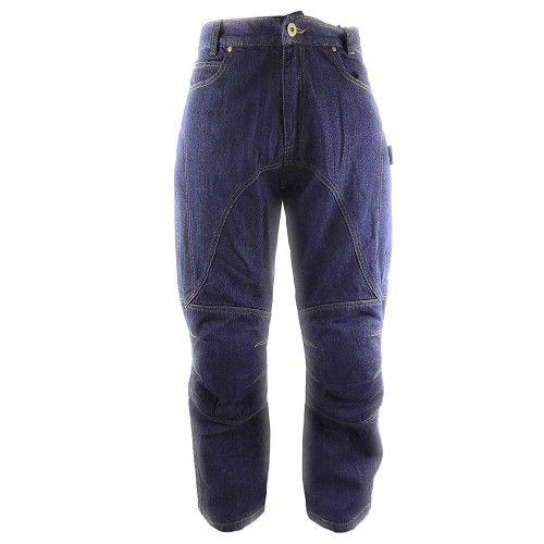 Pantalones tejanos de moto con protecciones color azul marino Kenrod - 1