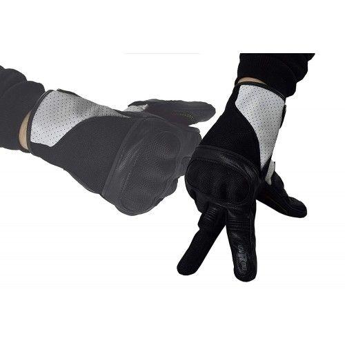 Guantes para moto de piel y tejido con protecciones Kenrod - 1