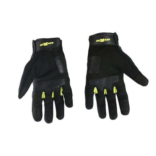 Guantes de moto de piel con protecciones y líneas fluor Kenrod - 2
