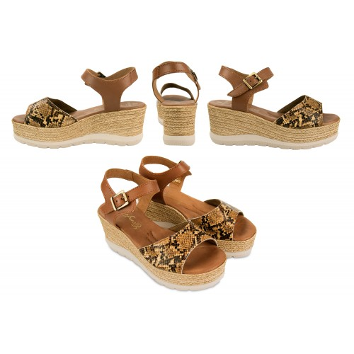 Sandalias de piel con plataforma estampado serpiente Zerimar - 2