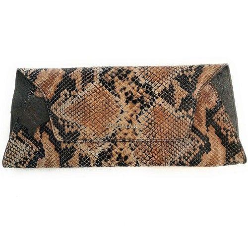 Cartera de piel de mujer grabado serpiente 33 x 15 cm Zerimar - 1