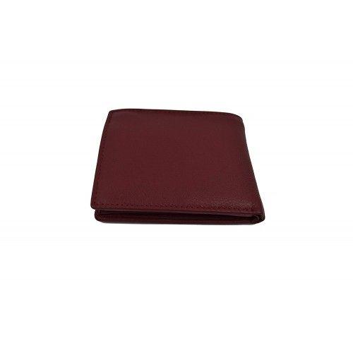 Cartera de piel para hombre con monedero en  color Burdeos 8,8x8,7 cm Zerimar - 2