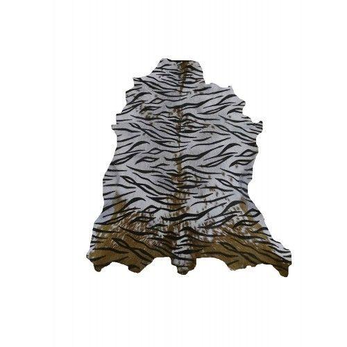Alfombra de piel de cabra natural 100x80 cm estampada imitacion Tigre Zerimar - 1