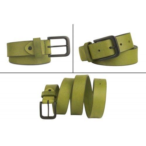 Cinturon de piel de color basico con hebilla oscura Zerimar - 2