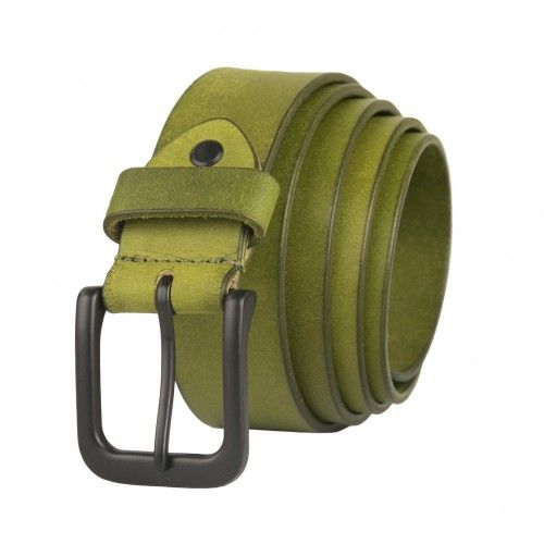 Cinturon de piel de color basico con hebilla oscura Zerimar - 1