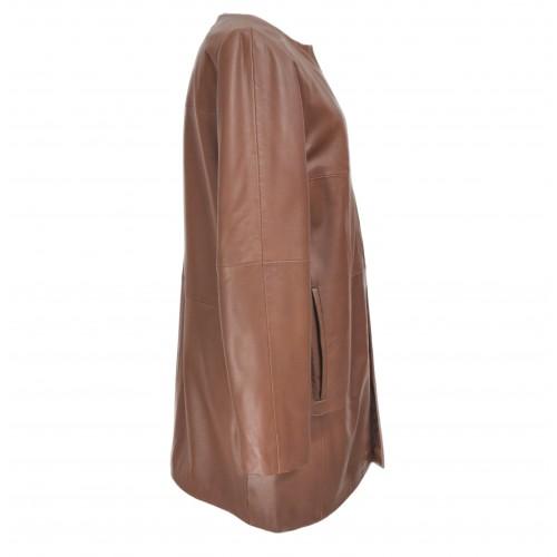 Abrigo de piel para mujer con cuello redondo y cierres invisibles Zerimar - 2