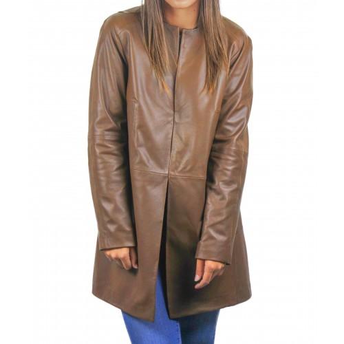 Abrigo de piel para mujer con cuello redondo y cierres invisibles Zerimar - 1