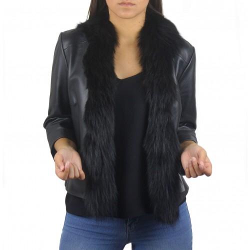 Chaqueta de piel natural para mujer con adorno de pelo Zerimar - 1