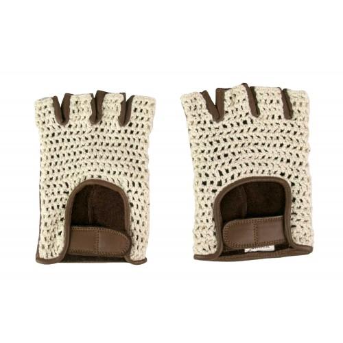 Guantes de piel sin dedos crochet Zerimar - 1