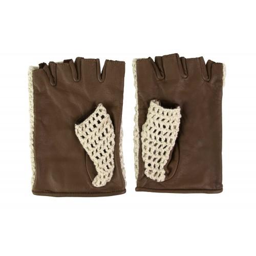 Guantes de piel sin dedos crochet Zerimar - 2